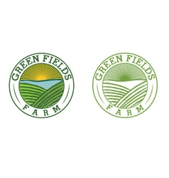 emblems of green field farm vector image