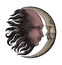 Face in sun and moon hand drawing vintage vector