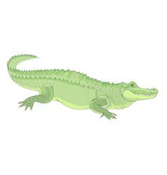 Fantasy cute tropical alligator on white vector