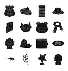 Film animal clothing and other web icon in black vector