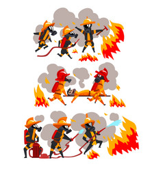 firefighters extinguishing fire and helping people vector image