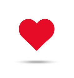 Flat design red heart icon placed on white vector