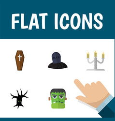 flat icon celebrate set of monster tomb terrible vector image