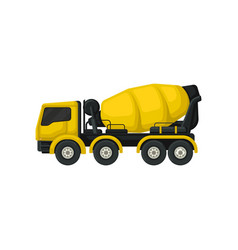 flat icon of yellow concrete mixing truck vector image