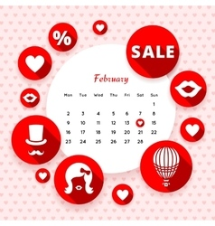 Flat icons Valentines and calendar vector image