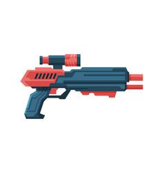 Futuristic space gun blaster red and black vector