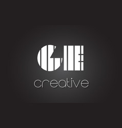Ge g e letter logo design with white and black vector