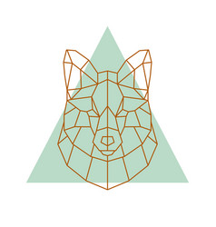 geometric head of a fox vector image