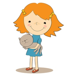 girl and pet 1 vector image