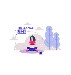 girl freelancer on outdoor working with laptop vector image