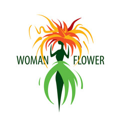 girl logo in shape a flower vector image