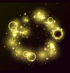 golden lights black background glitter shiny vector image