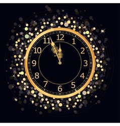 Golden New Year Clock vector image