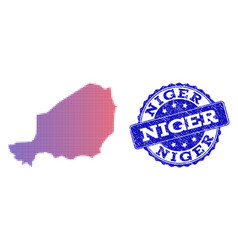 Halftone gradient map of niger and textured seal vector