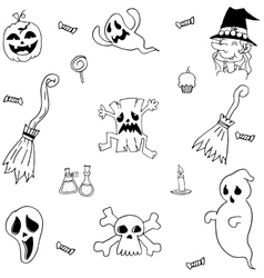 Halloween characters and element doodle set vector image