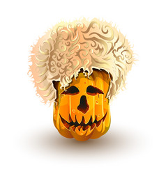 Halloween pumpkin in caucasian sheepskin hat vector