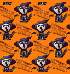 halloween seamless pattern cat in hat vector image