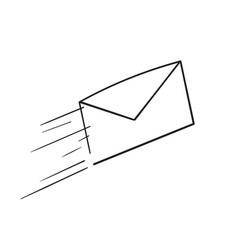 Hand drawn send message envelope icon doodle vector