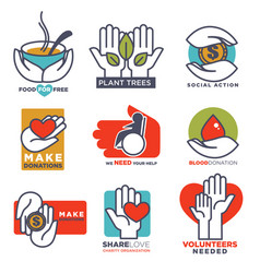 hand icons flat hands templates for social vector image