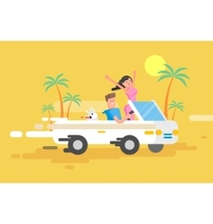 happy guy drives white convertible vector image