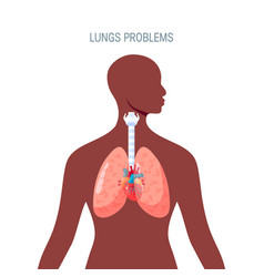 Human lungs icon in simple flat style vector