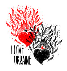 I love ukraine two hearts black and red color vector