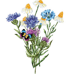 Image of a bouquet of wildflowers all objects vector