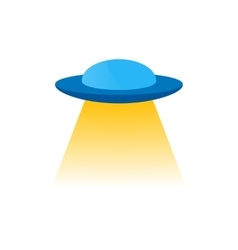 Isolated blue ufo or flying a spacecraft to vector