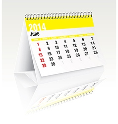 June 2014 desk calendar vector