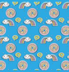 Kawaii donuts and clouds with rainbows sticker vector