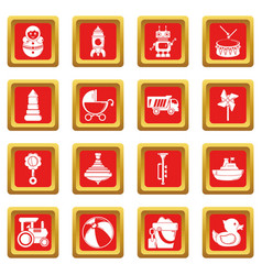 Kids toys icons set red square vector