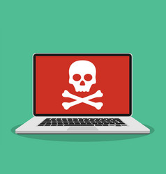 laptop with skull on the screen vector image