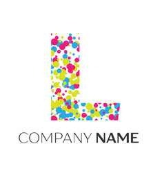 letter l logo with blue yellow red particles vector image