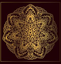 Luxury golden mandala art with circular floral vector
