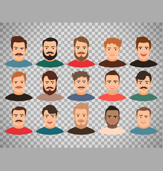 Man face avatars on transparent background vector