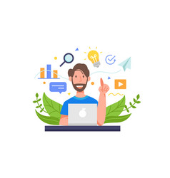 Man work in front a laptop vector