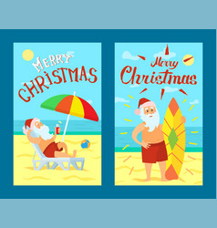 merry christmas santa claus lying on sunbed vector image