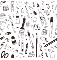 monochrome seamless pattern with school supplies vector image