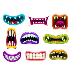 Monster mouths with sharp teeth and tongues set vector