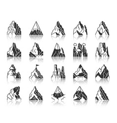mountain climbing black silhouette icon set vector image