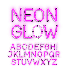 Neon glow alphabet on white background vector