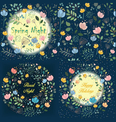 night floral rings and seamless pattern vector image
