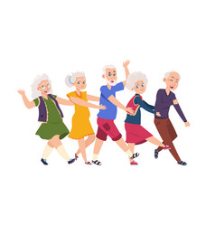 Old people dancing diverse elderly cartoon vector