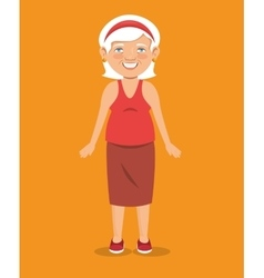 Old woman character avatar icon vector