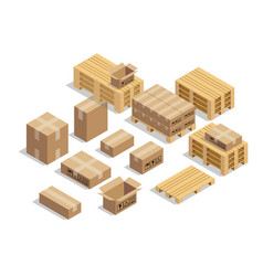 pallets for shipment with cardboard and isometric vector image