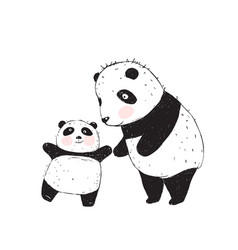 panda mother and baby vector image