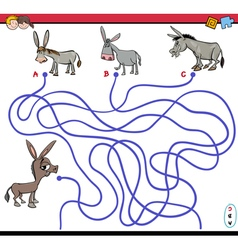 path maze game with donkey vector image