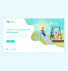 People on playground website with children vector