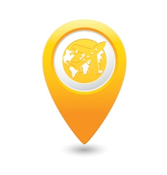 Plane AND globe MAP pointer yellow vector