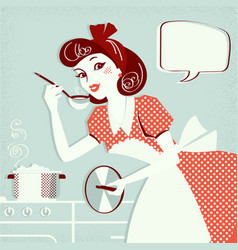 Portrait housewife cooking soup in her kitchen vector
